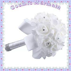 Dresses & Skirts - White🆕⭐️Bridal Bouquet Crystal Floral Bow Roses⭐️